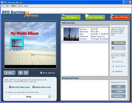 Click to view DVD Burning Xpress 3.31 screenshot