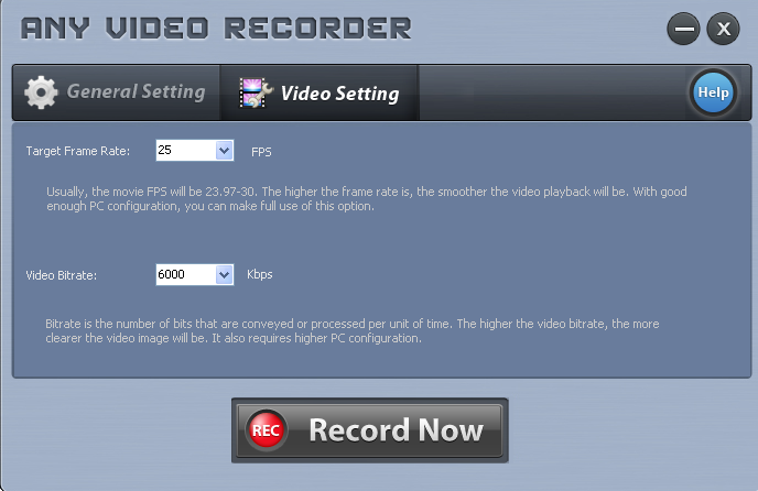 video quality setting of Any Video Recorder