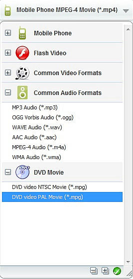 Output options of Any Video Converter Free