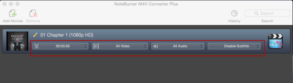 Adjust the video duration, choose video and audio track & subtitle