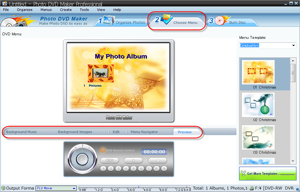 Choose DVD menu and add music