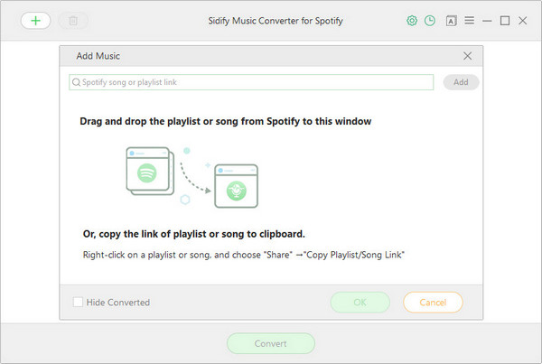 Drag Songs or Playlist link from Spotify to Spoiify Music Converter