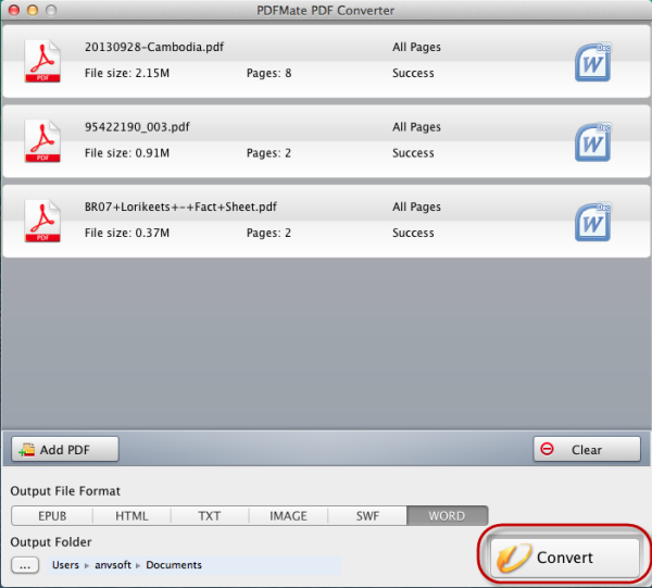 Start to convert PDF on Mac