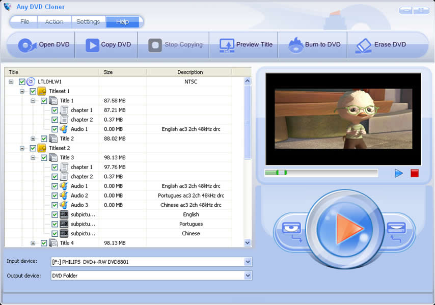 Capture d'écran de Any DVD Cloner