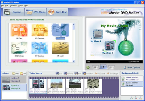 Select DVD menu templates for the DVD video