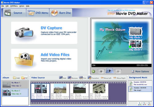 The main interface of Movie DVD Maker