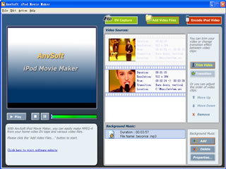 Click to View Full ScreenshotAnvSoft iPod Movie Maker 2.00 screenshot