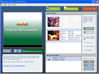 Convert DV tapes and video files to 3GP/MPEG-4 movie playable on cellular phone.